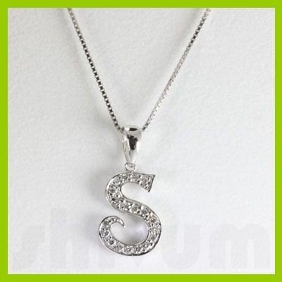 "Genuine 0.15 ctw Letter S Diamond Necklace 16"" 14kt"