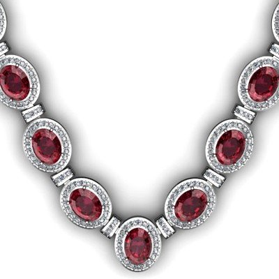 Certified 39.85 ctw Garnet Diamond Necklace 18k