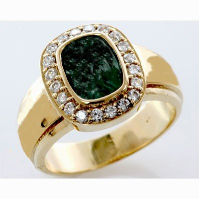 Genuine 2.0 ctw Emerald Diamond Ring 14k W/Y Gold