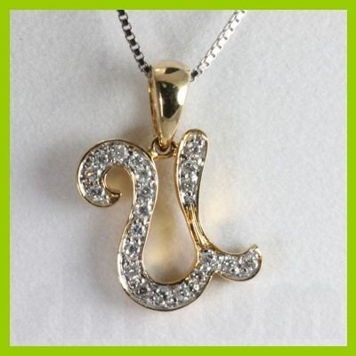 "Genuine 0.15 ctw Letter U Diamond Necklace 16"" 14kt"