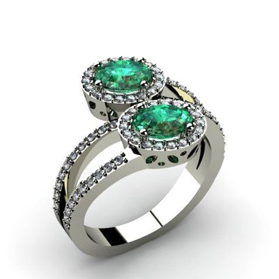 Emerald 1.37 ctw & Diamond Ring 14kt W/Y  Gold