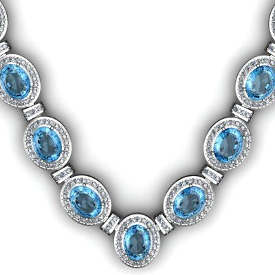44.85 ctw Topaz Diamond Necklace 925 Sterling Silver