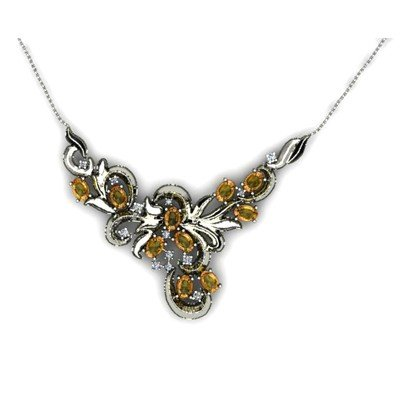"Genuine 4.74 ctw Citrine Necklace 16.5 ""14k W/Y Gold"