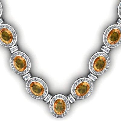 Certified 36.10 ctw Citrine Diamond Necklace 14k