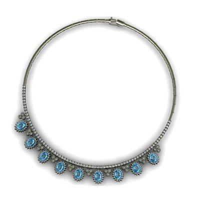 """Genuine 12.79 ctw Aquamarine Necklace 16.5"""" 18k"""