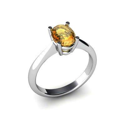 Genuine 2.40 ctw Citrine Ring 18k W/Y Gold