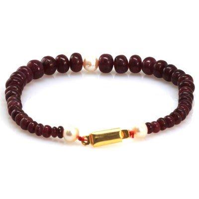 Natural Ruby 3 Pearl Briolettes Bracelet 104.42 ctw