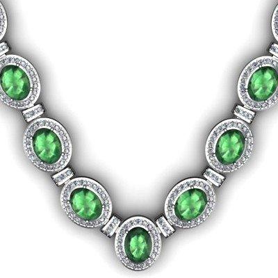 Certified 36.35 ctw Emerald Diamond Necklace 14k