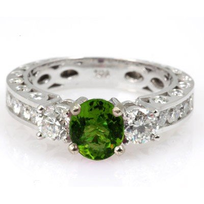 Genuine Peridot 1.92 ctw & Diamond Ring 14KTGold 6.75