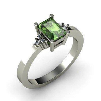 Genuine 0.66 ctw Green Tourmaline Diamond Ring 14k