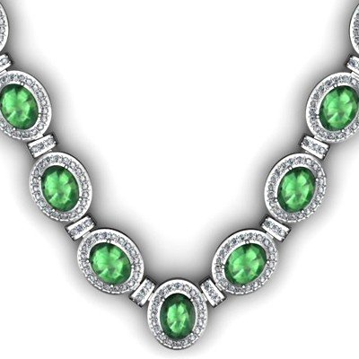 Certified 36.35 ctw Emerald Diamond Necklace 18k