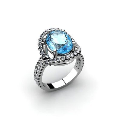 Aqua Marine 4.13 ctw & Diamond Ring 18kt W/Y  Gold
