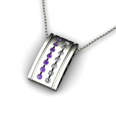 Genuine 0.50 ctw Amethyst Diamond Pendant 14k