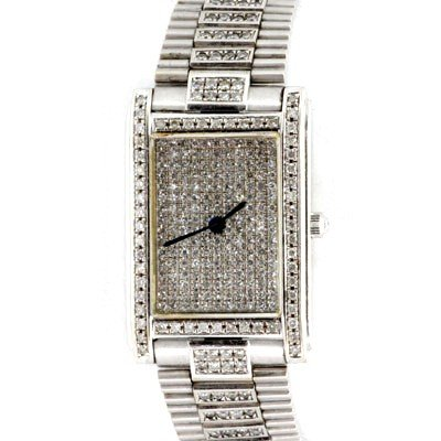 Used Ultra Slim Womens Watch w/ Diamond 18k White Gold
