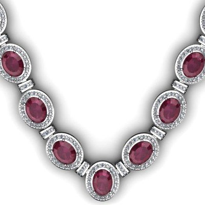 43.60 ctw Ruby Diamond Necklace 925 Sterling Silver