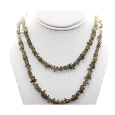Natural Black Laborite Un-cut Beads Neecklace