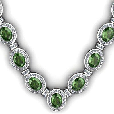 Certified 34.35 ctw Tourmaline Diamond Necklace 18k