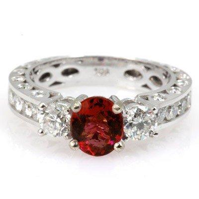 Genuine Ruby 2.29 ctw & Diamond Ring 14KTGold 6.75