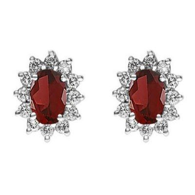 Genuine 2.38 ctw Garnet Earring 14k 2.1g