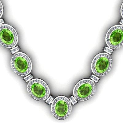 38.60 ctw Peridot Diamond Necklace 925 Sterling Silver