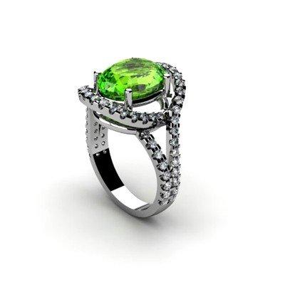 Peridot 4.63 ctw & Diamond Ring 18kt W/Y  Gold