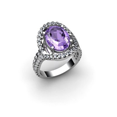Tanzanite 4.97 ctw & Diamond Ring 18kt W/Y  Gold