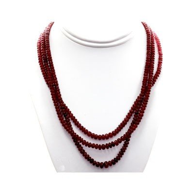 Natural Ruby Round  Beads Necklace w/brass clasp