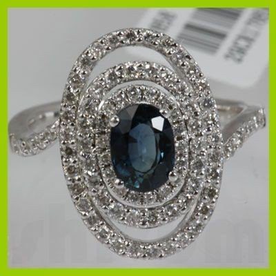 Genuine  1.98 ctw Diamond Sapphire Ring 18K White Gold