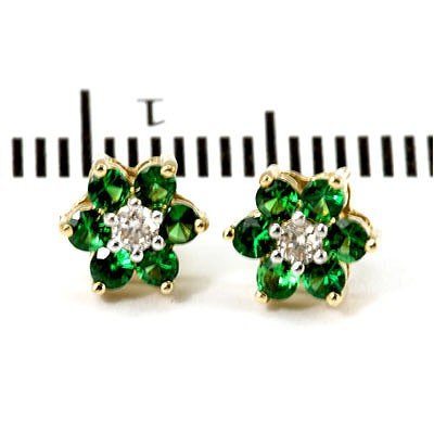 Genuine 0.83 ctw Emerald Flower Earring 14k 1.76g