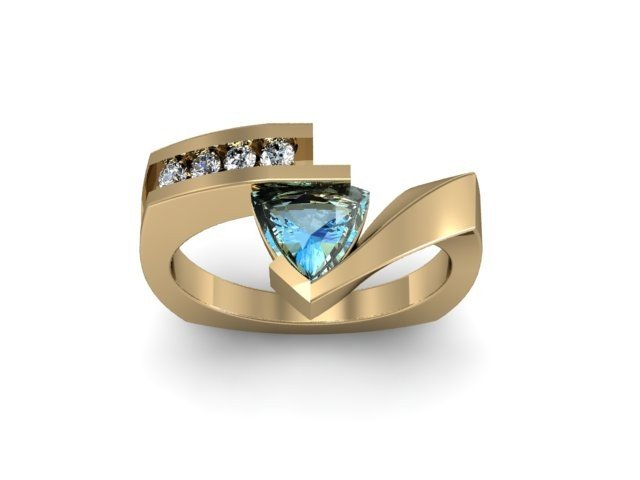 Genuine 0.62 ctw Aqua Marine Trillion Diamond Ring 10k