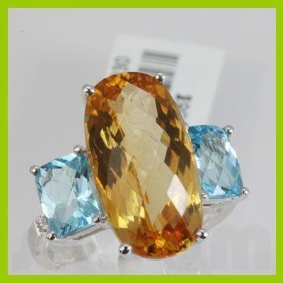 Genuine  9.37 ctw Diamond Citrine Ring 18KT White Gold