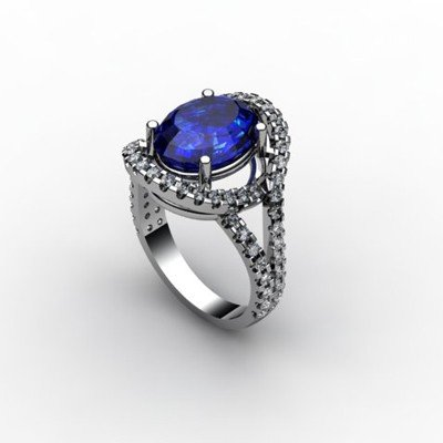 Sapphire 4.93 ctw & Diamond Ring 18kt W/Y  Gold