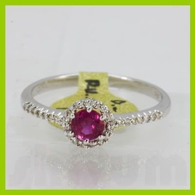 Genuine 0.60 ctw Ruby & Diamond Ring 18KT Yellow Gold