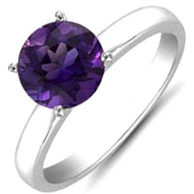 Amethyst 1.80 ctw Solitaire Ring 14kt W/Y  Gold
