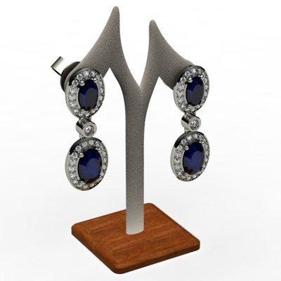 Sapphire 4.12 ctw Diamond Dangling Earring 18k W/Y Gold