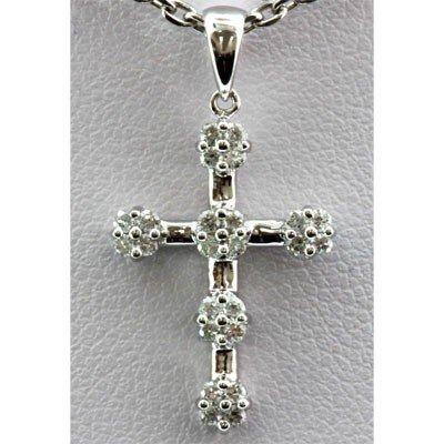 Genuine 0.30 ctw Diamond Cross Pendant 14k W Gold