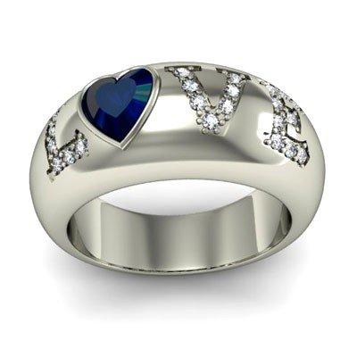 Genuine 0.74 ctw Sapphire Diamond Ring 14k W/Y Gold