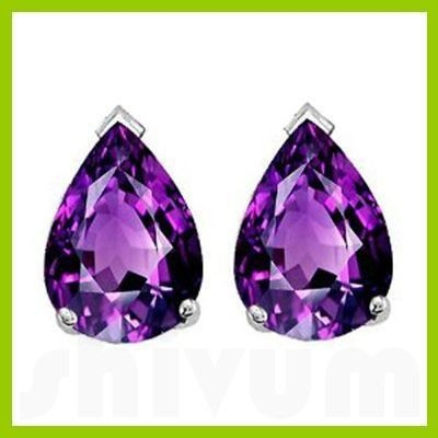 Genuine 2.50 ctw Amethyst Pear Shape Earrings 14kt