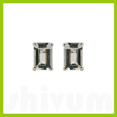 Genuine 8x6mm Aquamarine  Emerald-Cut  Earrings 14kt
