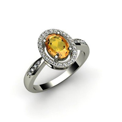 Citrine 1.50 ctw & Diamond Ring 18kt W/Y  Gold