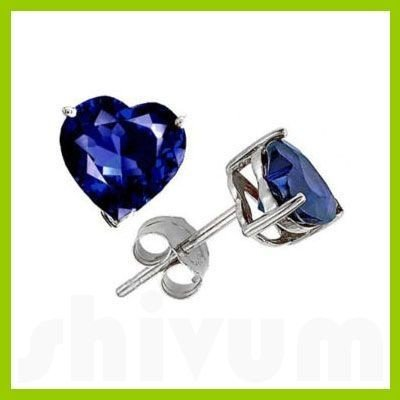 Genuine 3.0 ctw Heart Sapphire Stud Earrings 14kt