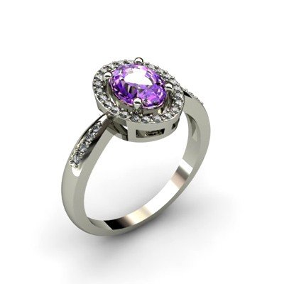 Amethyst 1.5 ctw & Diamond Ring 14kt W/Y  Gold