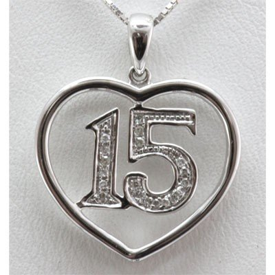 Genuine 0.07 ctw Diamond #15 Pendant inside Heart 10k