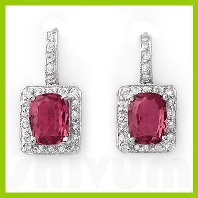 Genuine 3.55 ctw Pink Tourmaline Diamond Earrings 14kt