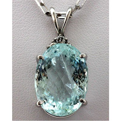 Genuine 16.43 ctw Aqua Marine Diamond Necklace 14k