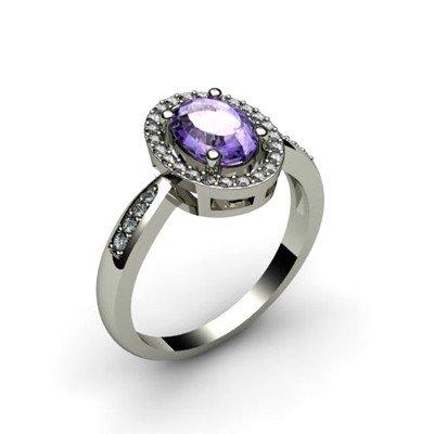 Tanzanite 1.60 ctw & Diamond Ring 18kt W/Y  Gold