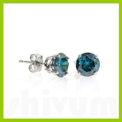 Genuine 1.0 ctw Blue Diamond Stud Earrings 14kt