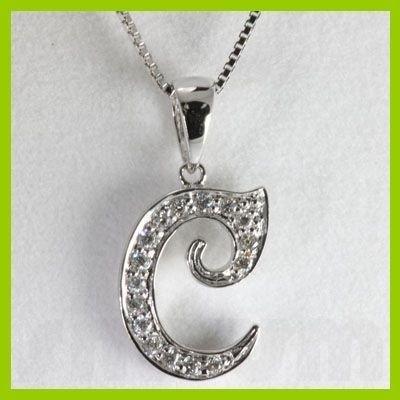 """Genuine 0.12 ctw Letter C Diamond Necklace 16"""" 14kt"""