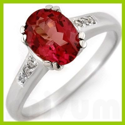 Genuine 3.00 ctw Pink Tourmaline & Diamond Ring 10kt