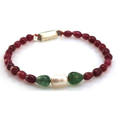 Natural Ruby, Emerald Teardrop Pearl Bracelet 60.38 ctw